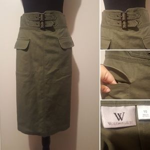 Worthington Olive High Waisted Pencil Skirt